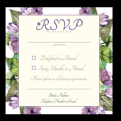 Purple Leaf Flowers RSVP Outline 124×124 3d