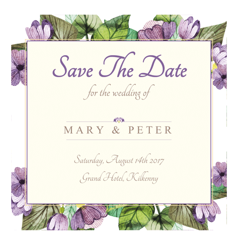 Purple Leaf Flowers save the date Outline 124×124 3d