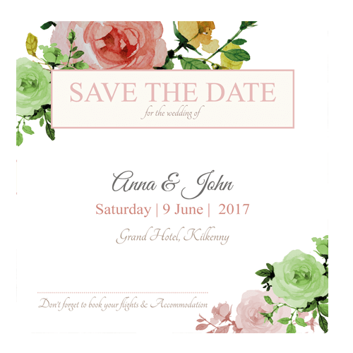 Rose GardenSave the Date 124mm x 124mm -3d