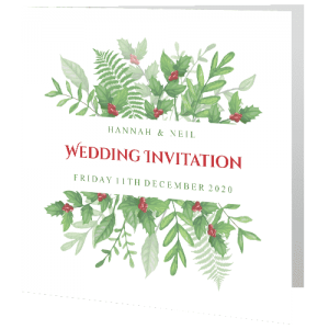 wedding-day-invite-christmas-greenery-holly-140mm-x-140mm