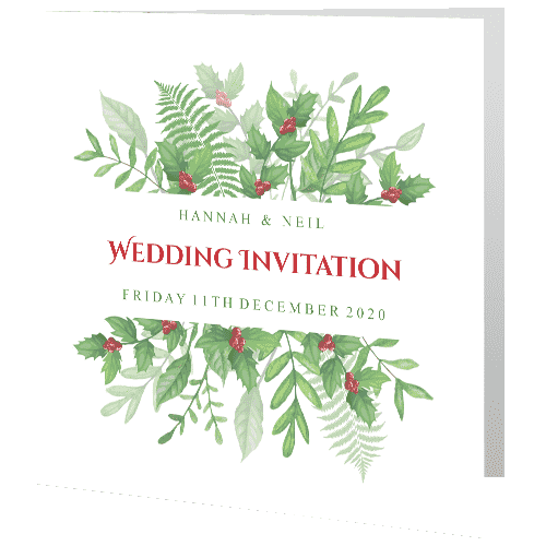 Wedding-Day-Invite—Christmas-Greenery-Holly-140mm-x-140mm-min