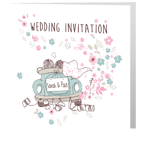 Wedding-Day-Invite—Teal-Car-140mm-x-140mm