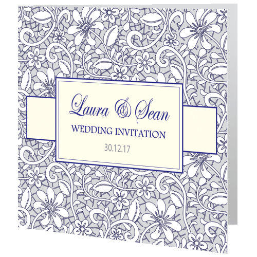Wedding Day Invite – Winter Wedding Lace Navy Grey 3D View