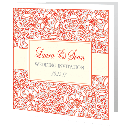 Wedding Day Invite – Winter Wedding Lace Red Grey 3D View
