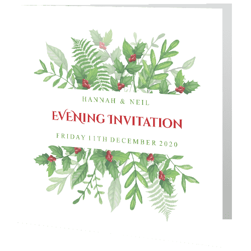 Wedding-Evening-Invite—Christmas-Greenery-Holly-140mm-x-140mm-min
