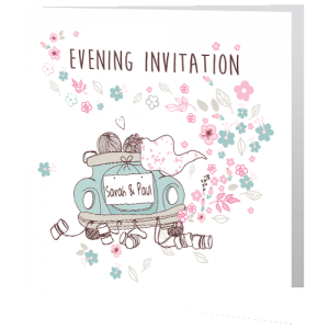 wedding-evening-invite-teal-car-140mm-x-140mm