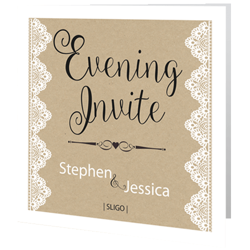 Wedding Evening Invite Rustic Lace On Brown Background 3d