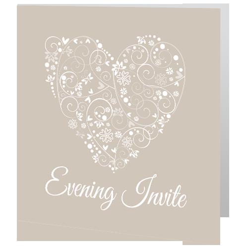 Evening White heart with swirls 3D
