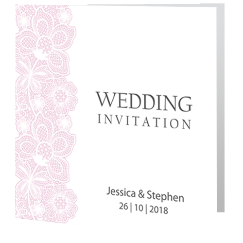 Blush Pink Lace on White Wedding Day Invite 3d