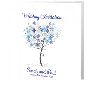 Wedding Day Invite - Snowflakes 140mm x 140mm