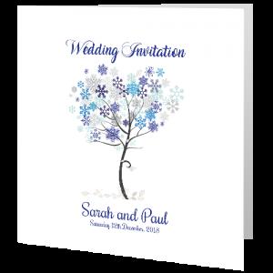 Wedding Day Invite - Snowflakes 140mm x 140mm
