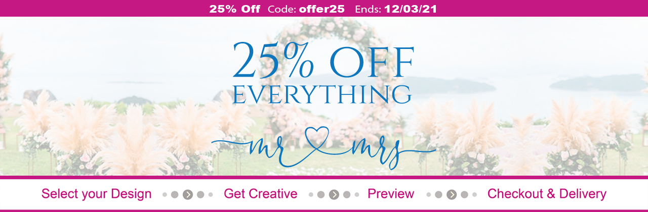 25% OFF wedding invites