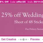 25% off wedding stationery